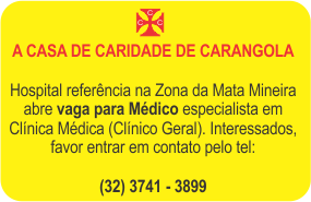 CASA DE CARIDADE ABRE VAGA PARA MÉDICO CLÍNICO GERAL